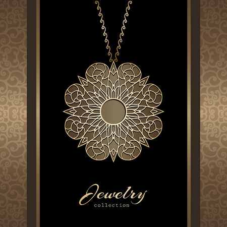 Elegant jewelry gold pendant, jewellery locket with chain, ornamental gold medal Illustration