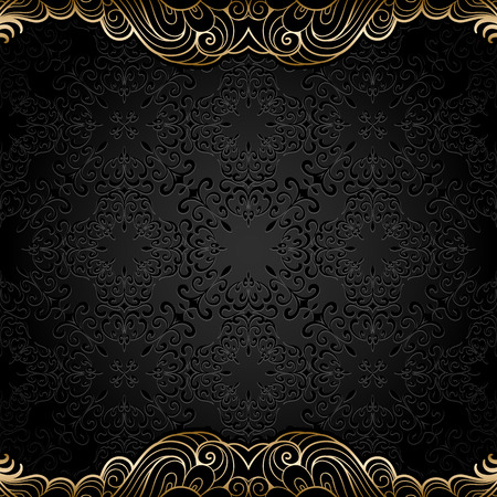 Vintage gold background, ornamental frame with seamless golden borders over pattern Vectores