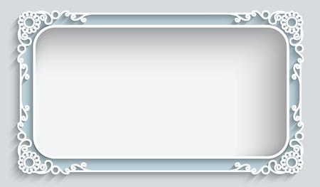 컷 아웃 종이 장식, 인사말 카드 또는 결혼식 초대장 템플릿 사각형 레이스 프레임 일러스트