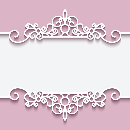white wedding: Cutout paper lace frame, greeting card or invitation template