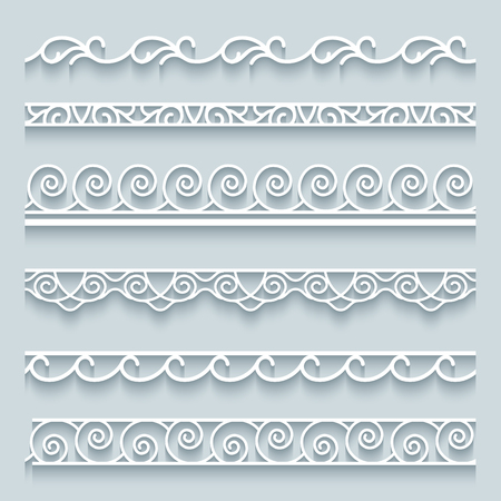 lacework: Set of white lace borders with shadows, ornamental paper lines