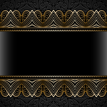 ornaments floral: Vintage gold background, ornamental frame with seamless lace borders over pattern Illustration