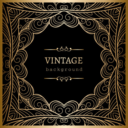 lacy: Vintage gold background, square ornamental lacy frame
