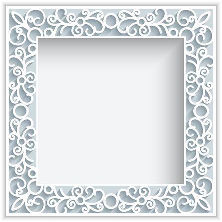 bordados: Marco cuadrado con remolinos de papel, fondo del cordón ornamental, tarjeta de felicitación o plantilla de invitación de la boda Vectores