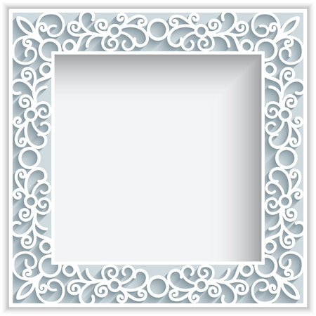 Square frame with paper swirls,  ornamental lace background, greeting card or wedding invitation template