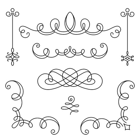 Vintage calligraphic vignettes, corners and dividers, set of decorative design elements in retro style, scroll embellishment on white Vectores