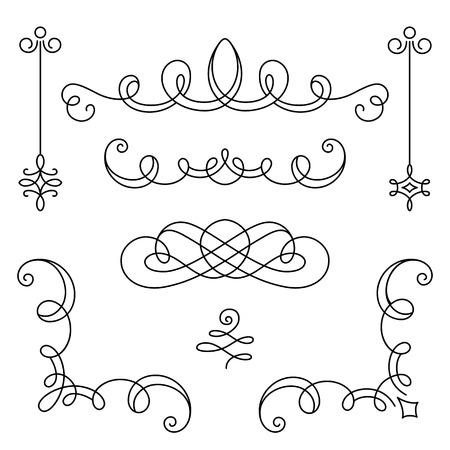 marcos decorativos: Viñetas Vintage caligráficas, esquinas y divisores, conjunto de elementos de diseño de decoración en estilo retro, desplácese adorno en blanco