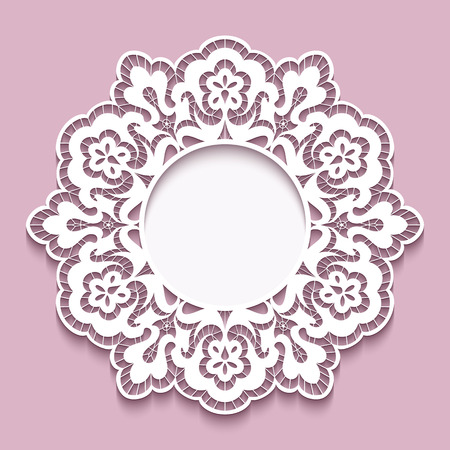 Round cadre de papier découpé, de la dentelle napperon en forme de fleur, étiquette, carte de voeux ou d'invitation mariage modèle Vecteurs