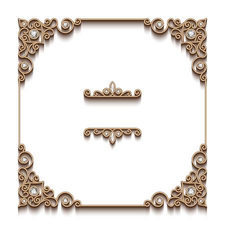 Vintage gold background, elegant square frame, antique jewelry vignette on white
