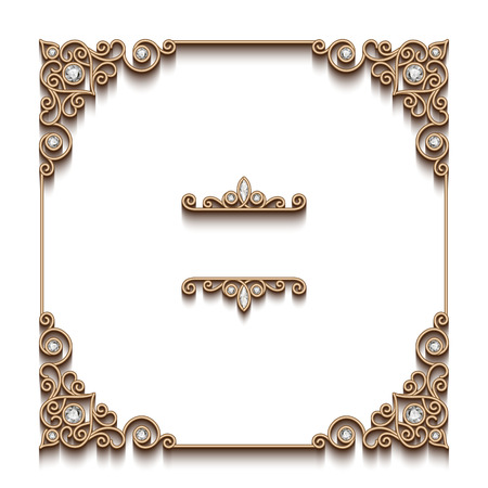antique fashion: Vintage gold background, elegant square frame, antique jewelry vignette on white
