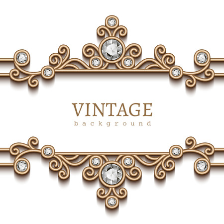 jewelry background: Vintage gold jewelry frame on white, divider element, elegant background with jewellery borders