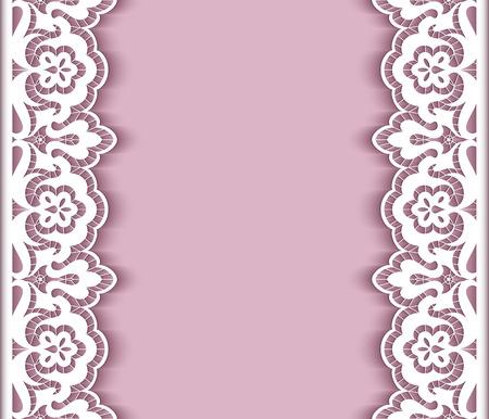 encaje: Fondo elegante con bordes de encaje recorte de papel, tarjetas de felicitación o plantilla de la invitación de la boda