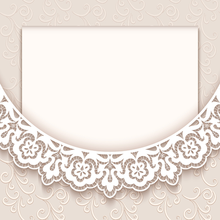 Elegant greeting card with lace decoration, vintage wedding invitation or announcement template Vettoriali
