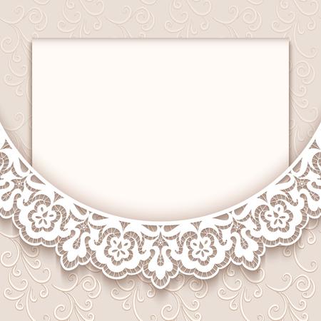 ślub: Eleganckie karty z pozdrowieniami z dekoracji koronki, vintage zaproszenie na ślub lub ogłoszenia szablonu
