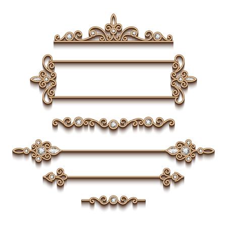 Viñetas y divisores de joyas de oro de la vendimia, conjunto de elementos de diseño de joyas decorativas en el fondo blanco Ilustración de vector