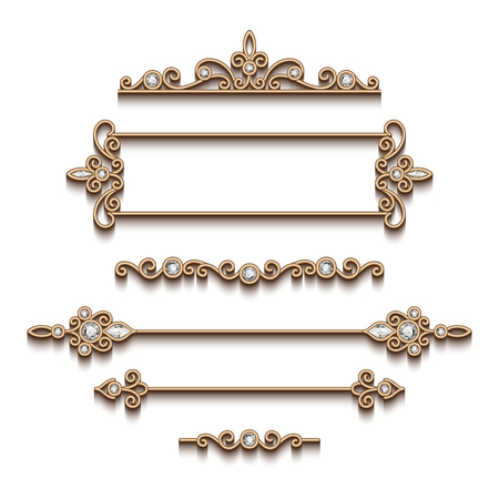fashion jewellery: Vintage gold jewelry vignettes and dividers, set of decorative jewellery design elements on white background