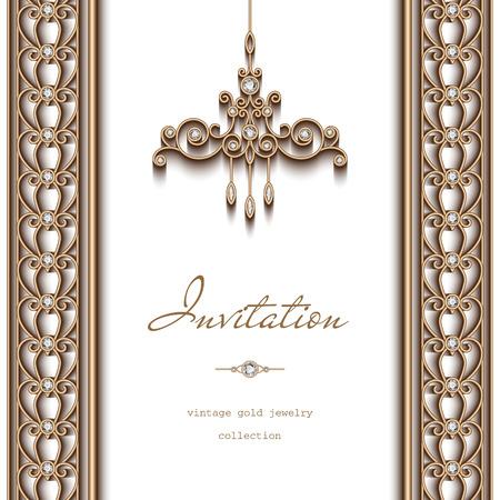 빈티지 골드 프레임, 초대장 템플릿, 흰색 배경에 화려한 샹들리에와 보석 경계