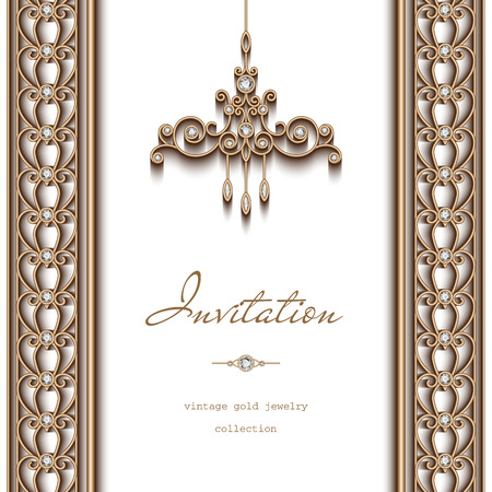 Vintage gold frame, invitation template, ornate chandelier and jewelry borders on white background Иллюстрация
