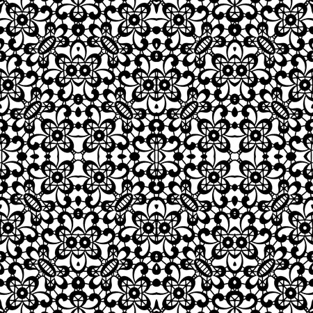 floral tracery: Black and white background, lace texture, seamless pattern