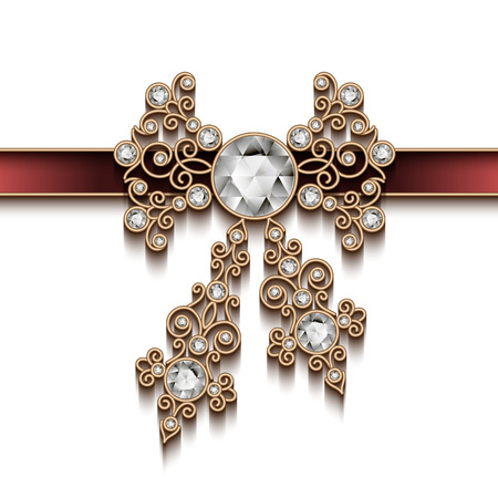 Arco joyas de oro de la vendimia y la cinta, decoración antigua de la joyería en el fondo blanco