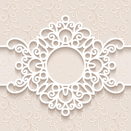 label frame: Paper lace background, round vignette, ornamental lacy frame