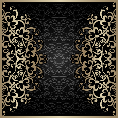 gold swirls: Vintage gold background, gold swirls over black ornament
