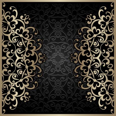 black swirls: Vintage gold background, gold swirls over black ornament