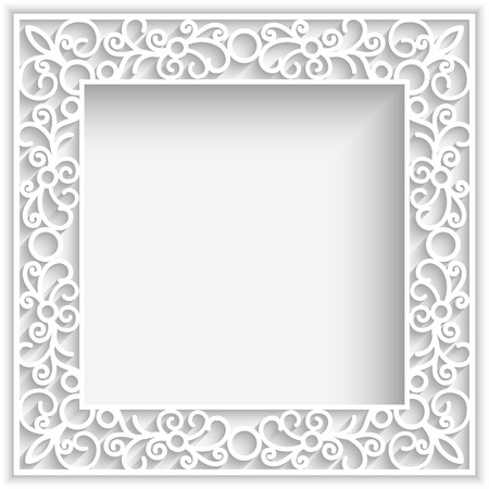 Abstract square lace frame with paper swirlse, white ornamental background