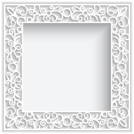 encaje: Marco de encaje cuadrado abstracto con swirlse papel, fondo ornamental blanco
