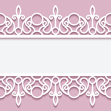Paper lace background, ornamental frame with lacy seamless borders Imagens - 46969276