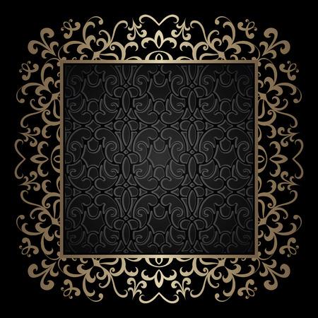 verschnörkelt: Vintage gold Hintergrund, quadratischen Zierrahmen auf schwarzem Illustration