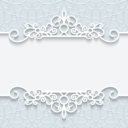 Abstract background with paper divider, header, ornamental frame in neutral color
