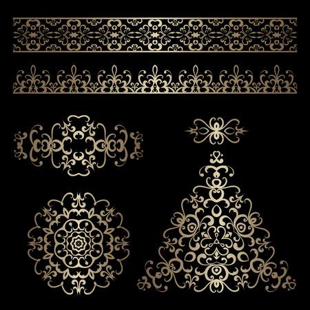 gold christmas background: Set of vintage gold ornamental borders and swirly decorative design elements on black Illustration