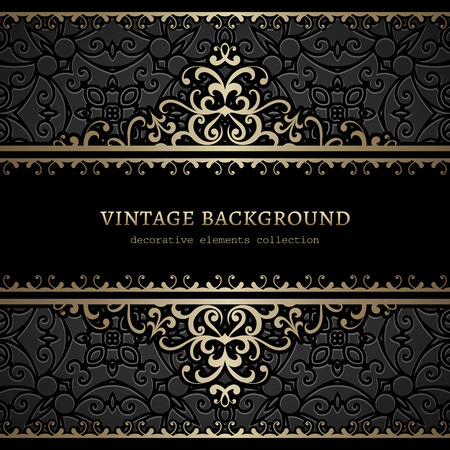 abstract black: Vintage gold swirly background, divider, header, ornamental frame