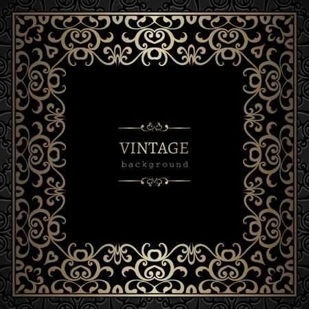 Vintage gold background, square frame with lace border ornament on black