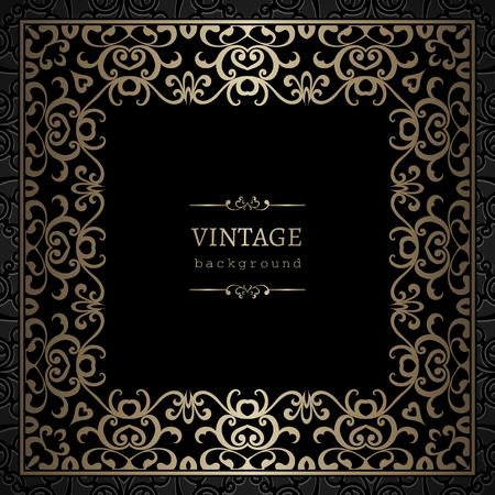Vintage gold Hintergrund, quadratischen Rahmen mit Spitzen Grenze Ornament auf schwarz Standard-Bild - 46969534