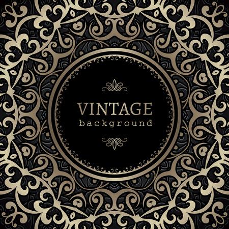 ornamental: Vintage gold background, ornamental frame with circle hole over pattern Illustration