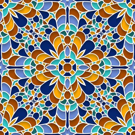 Abstract mosaic texture, ornamental ceramic tile, majolica, seamless pattern