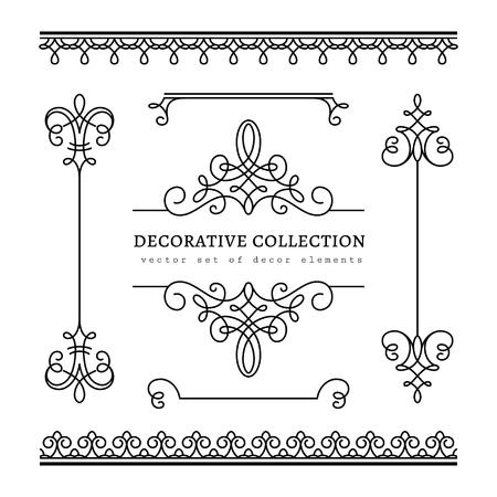 lineas decorativas: Viñetas Vintage caligráficas, las fronteras y divisiones, conjunto de elementos de diseño de decoración en estilo retro, desplácese adorno en blanco Vectores