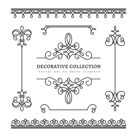 Vintage calligraphic vignettes, borders and dividers, set of decorative design elements in retro style, scroll embellishment on white