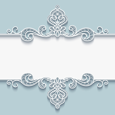 Abstract background with paper divider, header, ornamental frame with lace border Çizim