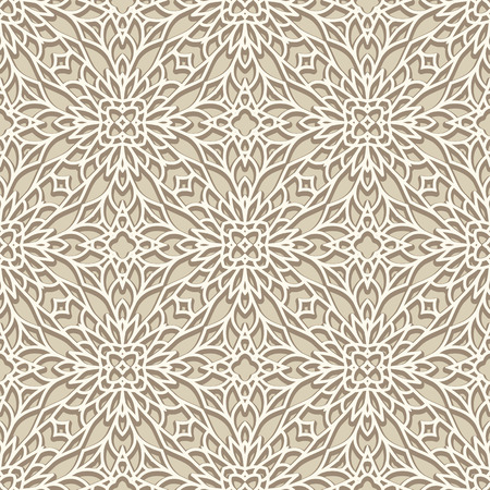 lacework: White background, vintage ornament, seamless pattern in neutral color