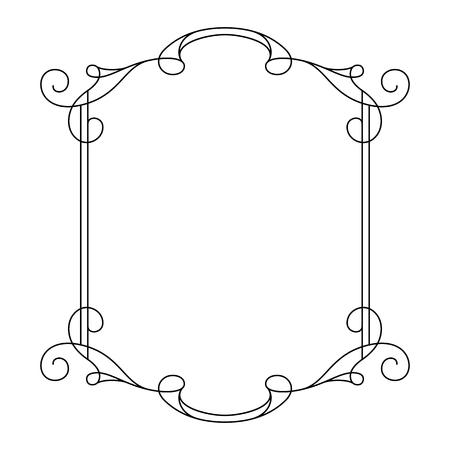 Vintage frame calligraphique, design décoratif dans le style rétro, cadre simple rectangle avec des remous, un certificat, invitation, faites défiler l'embellissement sur blanc