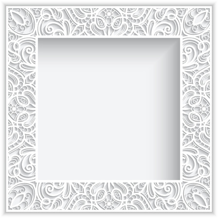 Abstract square lace frame with paper swirls, white frame, white ornamental background