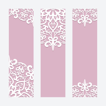 Set of elegant cards with lace ornament, banners, wedding invitation or announcement templates
