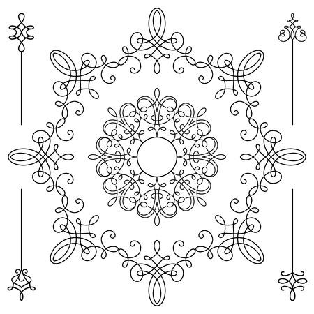 embellishment: Vintage calligraphic round vignettes and divider elements, circle frame templates, set of decorative design elements in retro style, scroll embellishment on white Illustration