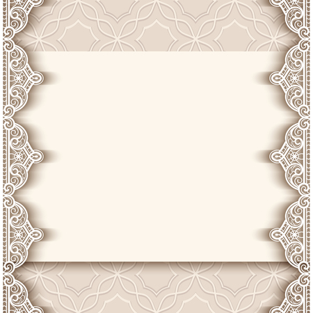 Vintage greeting card with lace border decoration, cutout paper background, wedding invitation or announcement template, vector illustration