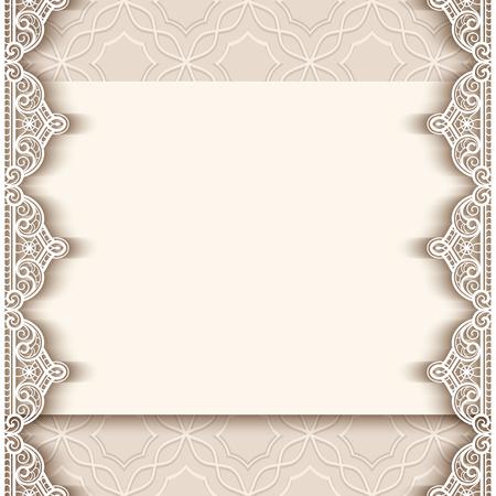 Vintage wenskaart met kanten rand decoratie, knipsel papier achtergrond, bruiloft uitnodiging of aankondiging sjabloon, vector illustratie