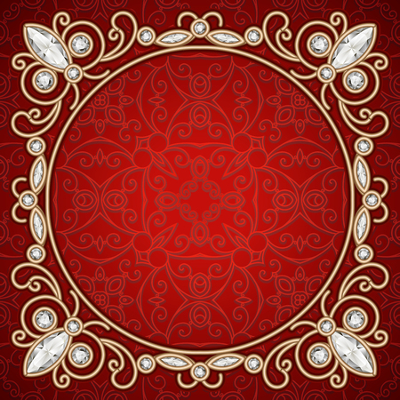 jewelry background: Vintage gold jewelry frame, gold diamond decoration on red background Illustration