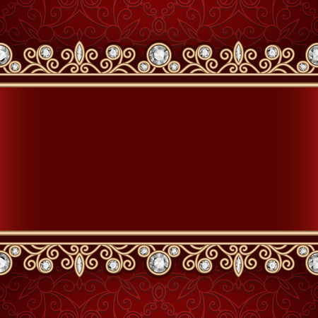 red velvet: Vintage gold frame with jewelry seamless borders, ornamental red background with jewellery decoration